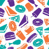 Fast food color pattern eps10 Royalty Free Stock Photography