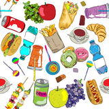 Fast food colored pattern vector illustration