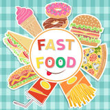 Fast food colorful flat design. Stock Image