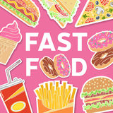 Fast food colorful flat design icons set. Stock Photos