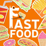 Fast food colorful flat design icons set. Stock Images