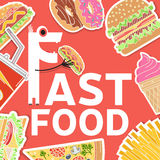 Fast food colorful flat design icons set. Royalty Free Stock Photos