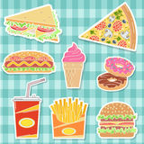 Fast food colorful flat design icons set. Royalty Free Stock Images