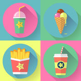 Fast food colorful flat design icons set. template Royalty Free Stock Images