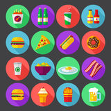 Fast food colorful flat design icons set. template elements for web and mobile applications Royalty Free Stock Photos