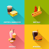 Fast food colorful flat design set. Vector illustration, eps10. Royalty Free Stock Photos