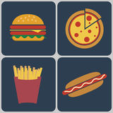 Fast Food colorful icon set Stock Image