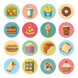 Fast food colorful icons set. Flat design Stock Illustration
