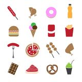 Fast food in colorful icons set. Fast food in colorful on white icons set Stock Image