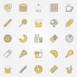 Fast Food colorful icons. Vector unhealthy junk food signs. Fast Food colorful icons set. Vector unhealthy junk food creative symbols or logo elements Royalty Free Stock Photos