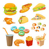 Fast Food Colorful Objects Set Royalty Free Stock Image