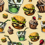 Fast food colorful seamless pattern Stock Image