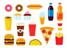 Fast food colorido ajustado no estilo liso Coleção dos ícones do vetor da comida lixo Imagens de Stock Royalty Free
