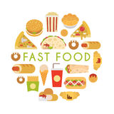 Fast food composition Royalty Free Stock Images