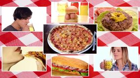 Fast food composition. Fast food, composition with tablecloth stock video