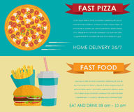 Fast food concept banner Stock Photos
