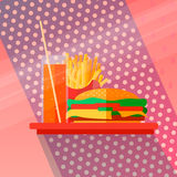 Fast food concept. Icons with fries, burgers, a drink on a tray in a flat style. Can be used for print, web, printed publications Stock Image