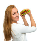 Fast food concept. Tasty unhealthy burger sandwich Stock Image