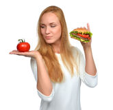 Fast food concept. Tasty unhealthy burger sandwich Royalty Free Stock Photo