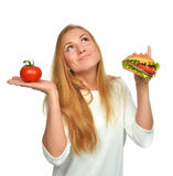 Fast food concept. Tasty unhealthy burger sandwich Stock Photography