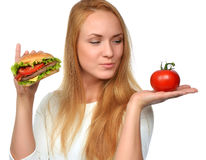 Fast food concept. Tasty unhealthy burger sandwich royalty free stock image