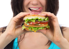 Fast food concept. Tasty unhealthy burger sandwich Stock Photos