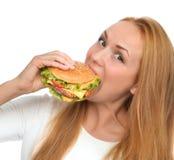 Fast food concept. Tasty unhealthy burger sandwich Stock Photos