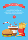 Fast Food Conceptual Flat Style Vector Web Banner. Fast food conceptual web banner. Flat style vector. Hamburger, cup of coffee, french fries Illustration with Royalty Free Stock Image
