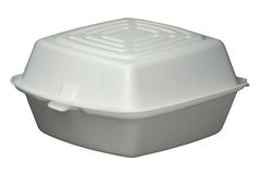 Fast Food Container. White polystyrene fast food container isolated on white. Isolation is on a transparent layer in PNG format Royalty Free Stock Images