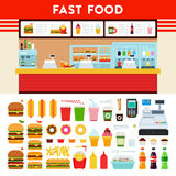 Fast food counter with menu sign. Royalty Free Stock Photography