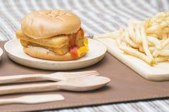 Fast Food Crispy Fish Burger Stock Photography
