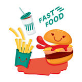 Fast Food.Cute Hamburger, French fries and Soft Drinks. Royalty Free Stock Photos