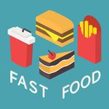 Fast food, 3d isometric flat set. Fast food icons set for menu, cafe and restaurant. Isometric 3d flat design vector Royalty Free Stock Images