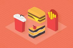 Fast food, 3d isometric flat set. Fast food icons set for menu, cafe and restaurant. Isometric 3d flat design vector Stock Photography