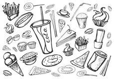 Fast food da garatuja ilustração royalty free