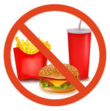 Fast food danger label (colored). Stock Photography