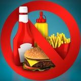 Fast food danger label. 3D illustration royalty free stock photos