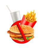 Fast food danger label Royalty Free Stock Image