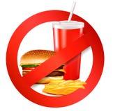 Fast food danger label. Vector Stock Images