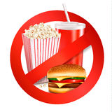 Fast food danger label. Royalty Free Stock Photos