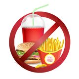 Fast Food Danger Label Vector. No Food Or Drinks Allowed Sign.. Stop Fast Food Vector. No Food Or Drinks Allowed Icon. Isolated Realistic illustration Royalty Free Stock Images