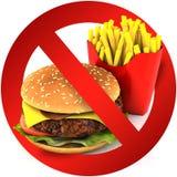 Fast food danger label. 3D illustration stock images