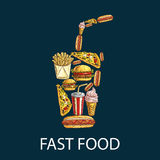 Fast food decoration emblem in shape of drink cup Stock Images