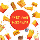 Fast Food Decorative Background Retro Cartoon vector illustration