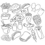 Fast Food decorative seamless pattern. Hand drawn vector Fast Food background in line art style royalty free illustration