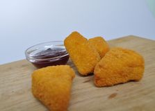 Deep-fried food - a few fried snacks with sauce Stock Photos