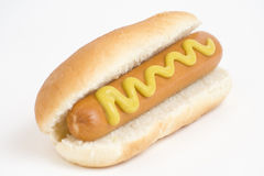 Fast food, delicious hot dog isolated over white b Royalty Free Stock Photos
