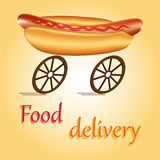 Fast food delivery. Hot dog on wheels as idea of fast food delivery Stock Photography