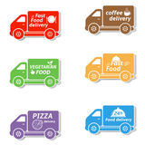 Fast food delivery car icons Royalty Free Stock Photos