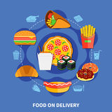Fast Food Delivery Service Flat Poster Stock Photos